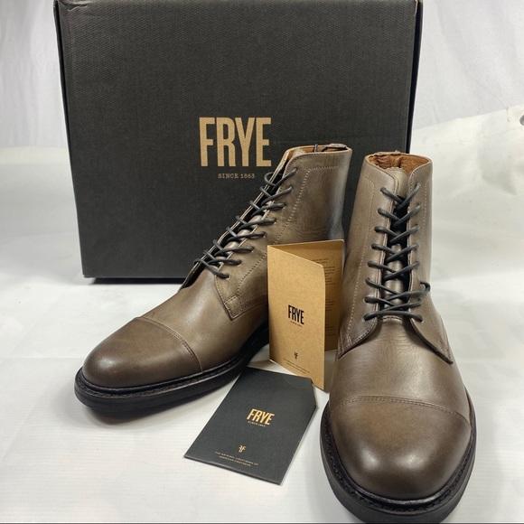 Frye Seth Cap Toe Lace Up Boots Stone
